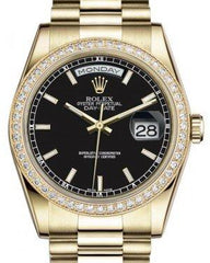 Rolex Day-Date 36 Yellow Gold Black Index Dial & Diamond Bezel President Bracelet 118348 - Fresh
