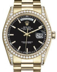 Rolex Day-Date 36 Yellow Gold Black Index Dial & Diamond Set Case & Bezel President Bracelet 118388 - Fresh
