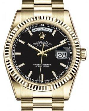 Rolex Day-Date 36 Yellow Gold Black Index Dial & Fluted Bezel President Bracelet 118238 - Fresh