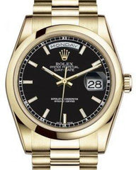 Rolex Day-Date 36 Yellow Gold Black Index Dial & Smooth Domed Bezel President Bracelet 118208 - Fresh