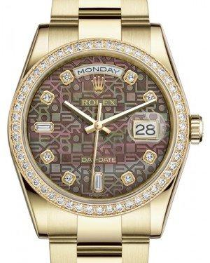 Rolex Day-Date 36 Yellow Gold Black Mother of Pearl Jubilee Diamond Dial & Diamond Bezel Oyster Bracelet 118348 - Fresh