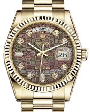 Rolex Day-Date 36 Yellow Gold Black Mother of Pearl Jubilee Diamond Dial & Fluted Bezel President Bracelet 118238 - Fresh