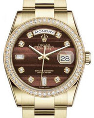 Rolex Day-Date 36 Yellow Gold Bull's Eye Diamond Dial & Diamond Bezel Oyster Bracelet 118348 - Fresh