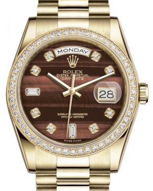 Rolex Day-Date 36 Yellow Gold Bull's Eye Diamond Dial & Diamond Bezel President Bracelet 118348 - Fresh