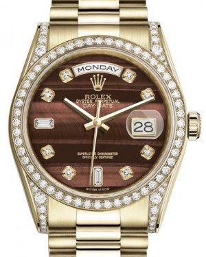 Rolex Day-Date 36 Yellow Gold Bull's Eye Diamond Dial & Diamond Set Case & Bezel President Bracelet 118388 - Fresh