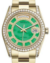 Rolex Day-Date 36 Yellow Gold Carousel of Green Jade Diamond Dial & Diamond Set Case & Bezel Oyster Bracelet 118388 - Fresh