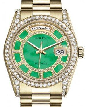 Rolex Day-Date 36 Yellow Gold Carousel of Green Jade Diamond Dial & Diamond Set Case & Bezel President Bracelet 118388 - Fresh