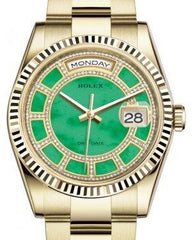 Rolex Day-Date 36 Yellow Gold Carousel of Green Jade Diamond Dial & Fluted Bezel Oyster Bracelet 118238 - Fresh
