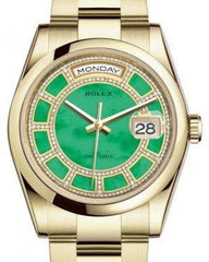 Rolex Day-Date 36 Yellow Gold Carousel of Green Jade Diamond Dial & Smooth Domed Bezel Oyster Bracelet 118208 - Fresh