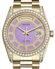 Rolex Day-Date 36 Yellow Gold Carousel of Lavender Jade Diamond Dial & Diamond Set Case & Bezel President Bracelet 118388 - Fresh