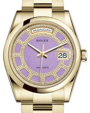 Rolex Day-Date 36 Yellow Gold Carousel of Lavender Jade Diamond Dial & Smooth Domed Bezel Oyster Bracelet 118208 - Fresh