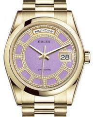 Rolex Day-Date 36 Yellow Gold Carousel of Lavender Jade Diamond Dial & Smooth Domed Bezel President Bracelet 118208 - Fresh
