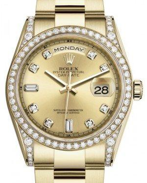 Rolex Day-Date 36 Yellow Gold Champagne Diamond Dial & Diamond Set Case & Bezel Oyster Bracelet 118388 - Fresh