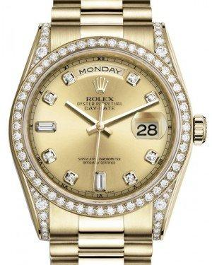 Rolex Day-Date 36 Yellow Gold Champagne Diamond Dial & Diamond Set Case & Bezel President Bracelet 118388 - Fresh