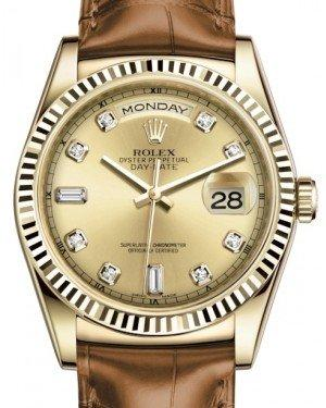 Rolex Day-Date 36 Yellow Gold Champagne Diamond Dial & Fluted Bezel Cognac Leather Strap 118138 - Fresh