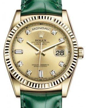Rolex Day-Date 36 Yellow Gold Champagne Diamond Dial & Fluted Bezel Green Leather Strap 118138 - Fresh