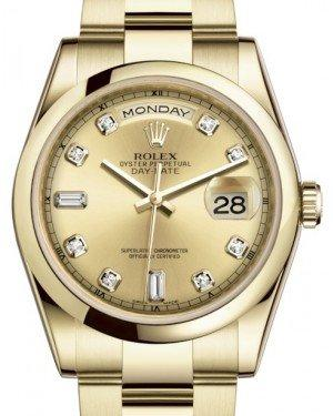 Rolex Day-Date 36 Yellow Gold Champagne Diamond Dial & Smooth Domed Bezel Oyster Bracelet 118208 - Fresh