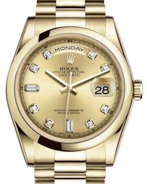 Rolex Day-Date 36 Yellow Gold Champagne Diamond Dial & Smooth Domed Bezel President Bracelet 118208 - Fresh