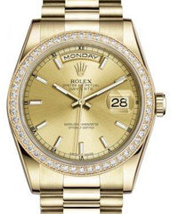 Rolex Day-Date 36 Yellow Gold Champagne Index Dial & Diamond Bezel President Bracelet 118348 - Fresh