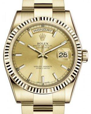 Rolex Day-Date 36 Yellow Gold Champagne Index Dial & Fluted Bezel Oyster Bracelet 118238 - Fresh