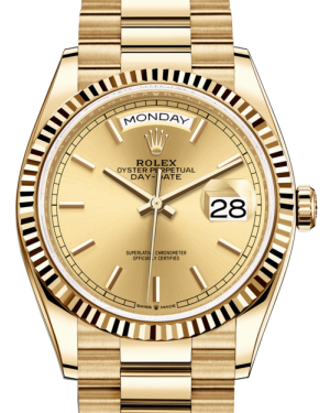 Rolex Day-Date 36 Yellow Gold Champagne Index Dial & Fluted Bezel President Bracelet 128238 - Fresh