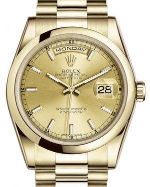 Rolex Day-Date 36 Yellow Gold Champagne Index Dial & Smooth Domed Bezel President Bracelet 118208 - Fresh