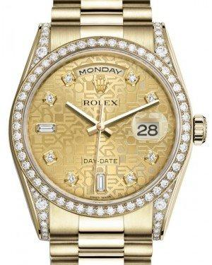 Rolex Day-Date 36 Yellow Gold Champagne Jubilee Diamond Dial & Diamond Set Case & Bezel President Bracelet 118388 - Fresh