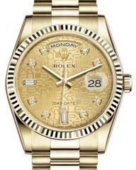 Rolex Day-Date 36 Yellow Gold Champagne Jubilee Diamond Dial & Fluted Bezel President Bracelet 118238 - Fresh