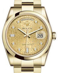 Rolex Day-Date 36 Yellow Gold Champagne Jubilee Diamond Dial & Smooth Domed Bezel Oyster Bracelet 118208 - Fresh