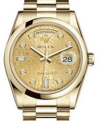 Rolex Day-Date 36 Yellow Gold Champagne Jubilee Diamond Dial & Smooth Domed Bezel President Bracelet 118208 - Fresh