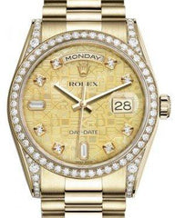 Rolex Day-Date 36 Yellow Gold Champagne Mother of Pearl Jubilee Diamond Dial & Diamond Set Case & Bezel President Bracelet 118388 - Fresh
