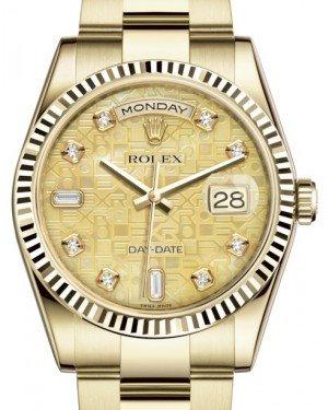 Rolex Day-Date 36 Yellow Gold Champagne Mother of Pearl Jubilee Diamond Dial & Fluted Bezel Oyster Bracelet 118238 - Fresh