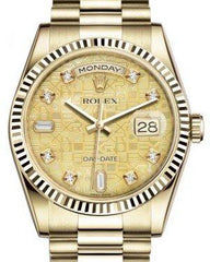 Rolex Day-Date 36 Yellow Gold Champagne Mother of Pearl Jubilee Diamond Dial & Fluted Bezel President Bracelet 118238 - Fresh