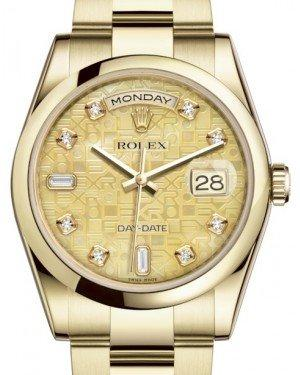 Rolex Day-Date 36 Yellow Gold Champagne Mother of Pearl Jubilee Diamond Dial & Smooth Domed Bezel Oyster Bracelet 118208 - Fresh