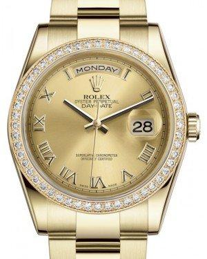 Rolex Day-Date 36 Yellow Gold Champagne Roman Dial & Diamond Bezel Oyster Bracelet 118348 - Fresh