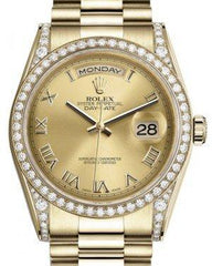 Rolex Day-Date 36 Yellow Gold Champagne Roman Dial & Diamond Set Case & Bezel President Bracelet 118388 - Fresh