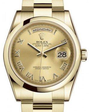 Rolex Day-Date 36 Yellow Gold Champagne Roman Dial & Smooth Domed Bezel Oyster Bracelet 118208 - Fresh