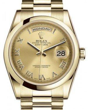Rolex Day-Date 36 Yellow Gold Champagne Roman Dial & Smooth Domed Bezel President Bracelet 118208 - Fresh