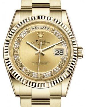 Rolex Day-Date 36 Yellow Gold Champagne Set with Diamonds Roman Dial & Fluted Bezel Oyster Bracelet 118238 - Fresh