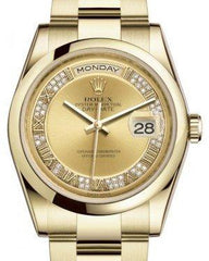 Rolex Day-Date 36 Yellow Gold Champagne Set with Diamonds Roman Dial & Smooth Domed Bezel Oyster Bracelet 118208 - Fresh