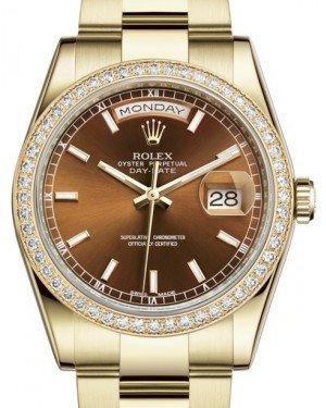 Rolex Day-Date 36 Yellow Gold Cognac Index Dial & Diamond Bezel Oyster Bracelet 118348 - Fresh