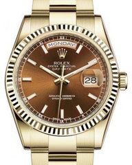 Rolex Day-Date 36 Yellow Gold Cognac Index Dial & Fluted Bezel Oyster Bracelet 118238 - Fresh