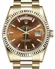 Rolex Day-Date 36 Yellow Gold Cognac Brown Index Dial & Fluted Bezel President Bracelet 118238 - Fresh