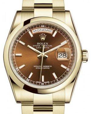 Rolex Day-Date 36 Yellow Gold Cognac Index Dial & Smooth Domed Bezel Oyster Bracelet 118208 - Fresh