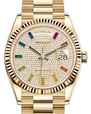 Rolex Day-Date 36 Yellow Gold Diamond Paved Rainbow Colored Sapphires Dial & Fluted Bezel President Bracelet 128238 - Fresh