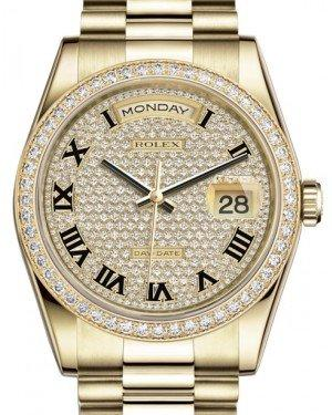 Rolex Day-Date 36 Yellow Gold Diamond Paved Roman Dial & Diamond Bezel President Bracelet 118348 - Fresh