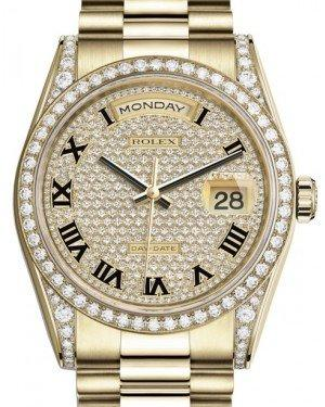 Rolex Day-Date 36 Yellow Gold Diamond Paved Roman Dial & Diamond Set Case & Bezel President Bracelet 118388 - Fresh