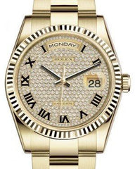 Rolex Day-Date 36 Yellow Gold Diamond Paved Roman Dial & Fluted Bezel Oyster Bracelet 118238 - Fresh