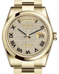 Rolex Day-Date 36 Yellow Gold Diamond Paved Roman Dial & Smooth Domed Bezel Oyster Bracelet 118208 - Fresh