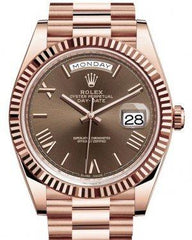 Rolex Day-Date 40 Rose Gold Chocolate Roman Dial & Fluted Bezel President Bracelet 228235 -  Fresh